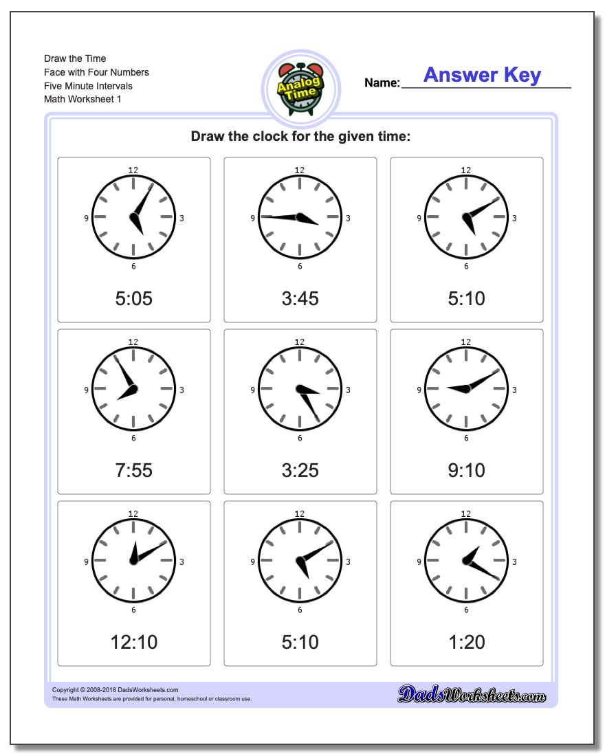 Telling Analog Time Draw the Face with Four Numbers Five Minute Intervals Worksheets