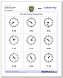 Draw the Time Face with Four Numbers Five Minute Intervals www.dadsworksheets.com/worksheets/telling-analog-time.html Worksheet