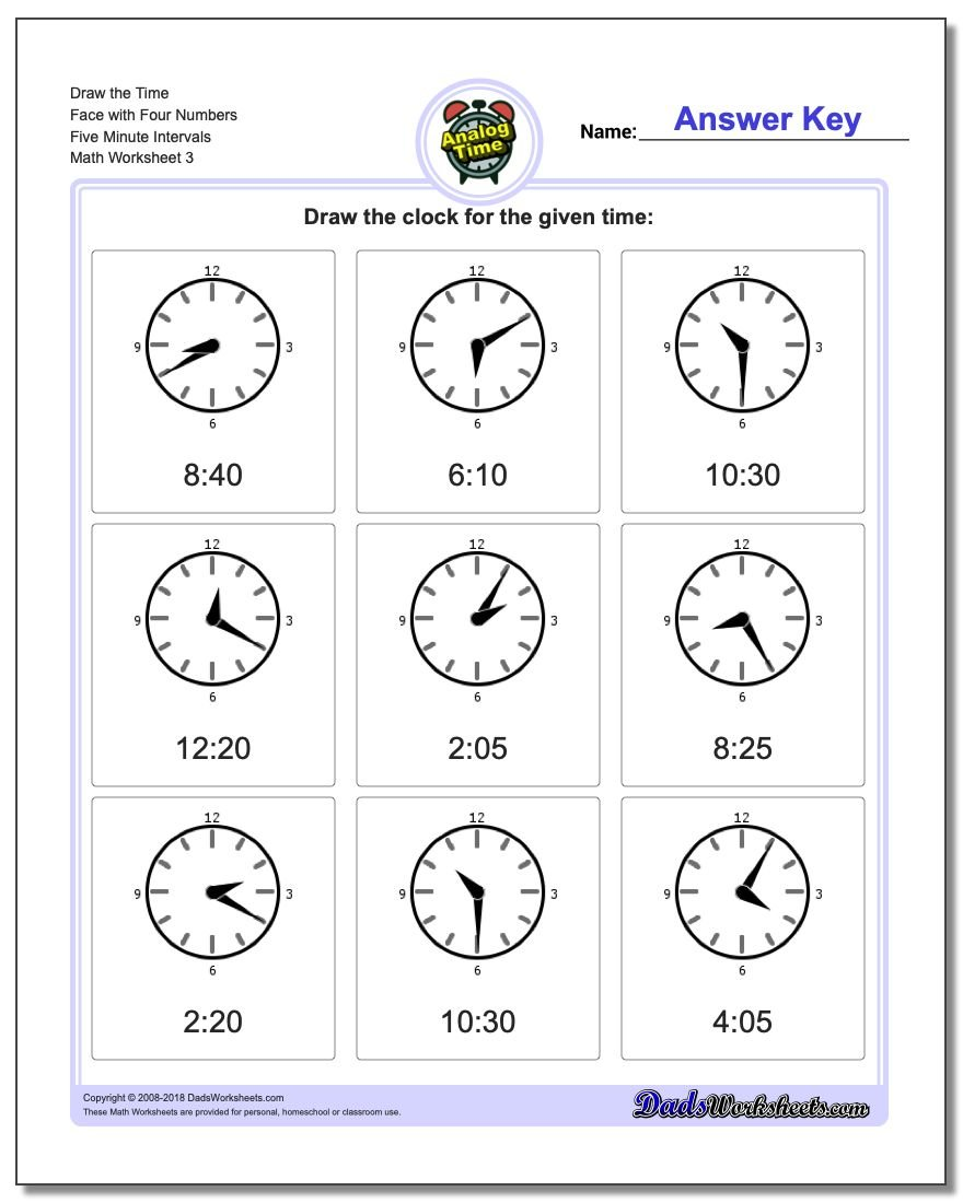 Draw the Time Face with Four Numbers Five Minute Intervals Worksheet