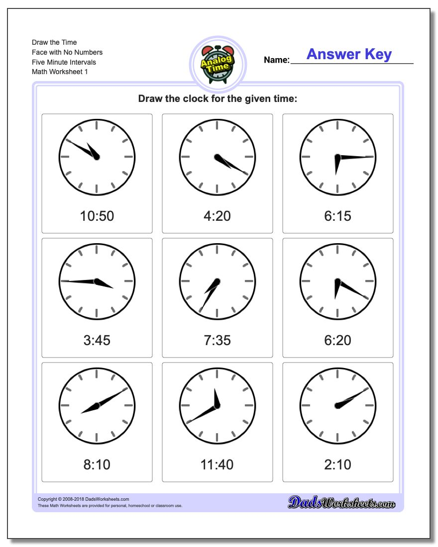 Telling Analog Time Draw the Face with No Numbers Five Minute Intervals Worksheet