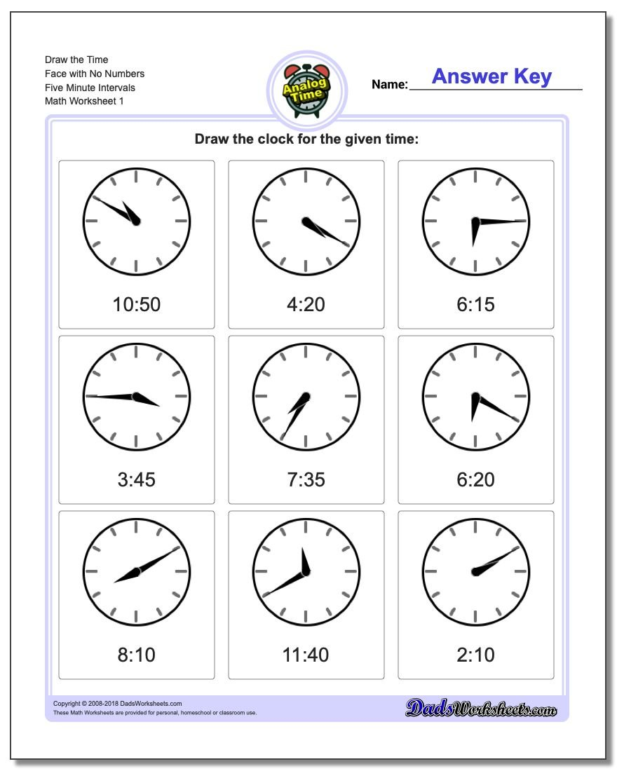 Telling Analog Time Draw the Face with No Numbers Five Minute Intervals Worksheets