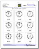 Draw the Time Face with All Numbers Full Hours www.dadsworksheets.com/worksheets/telling-analog-time.html Worksheet
