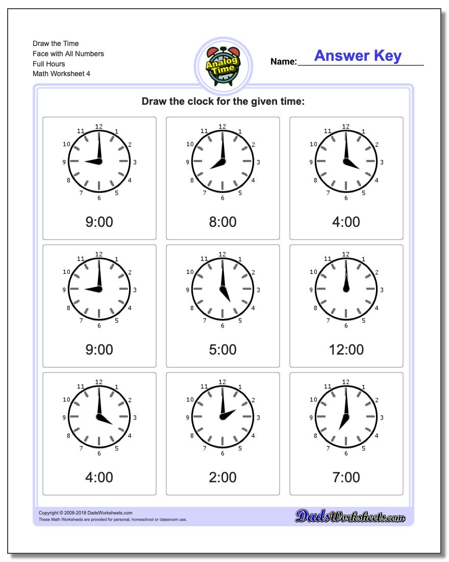 Draw the Time Face with All Numbers Full Hours Worksheet