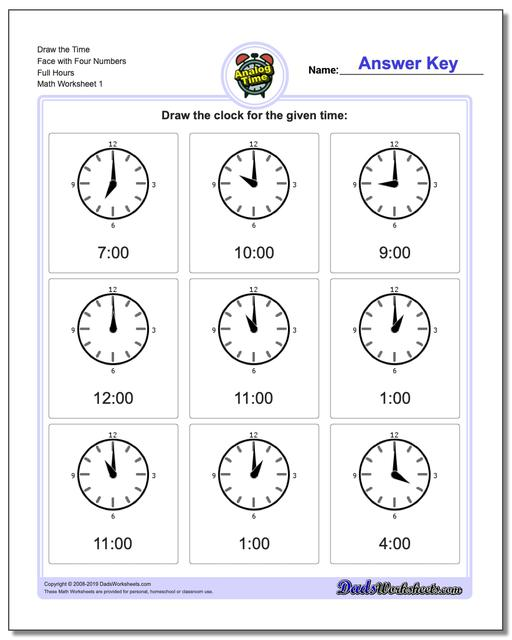 Telling Analog Time Draw the Face with Four Numbers Full Hours Worksheets