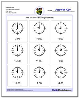 Telling Analog Time Draw the Face with Four Numbers Full Hours Worksheet