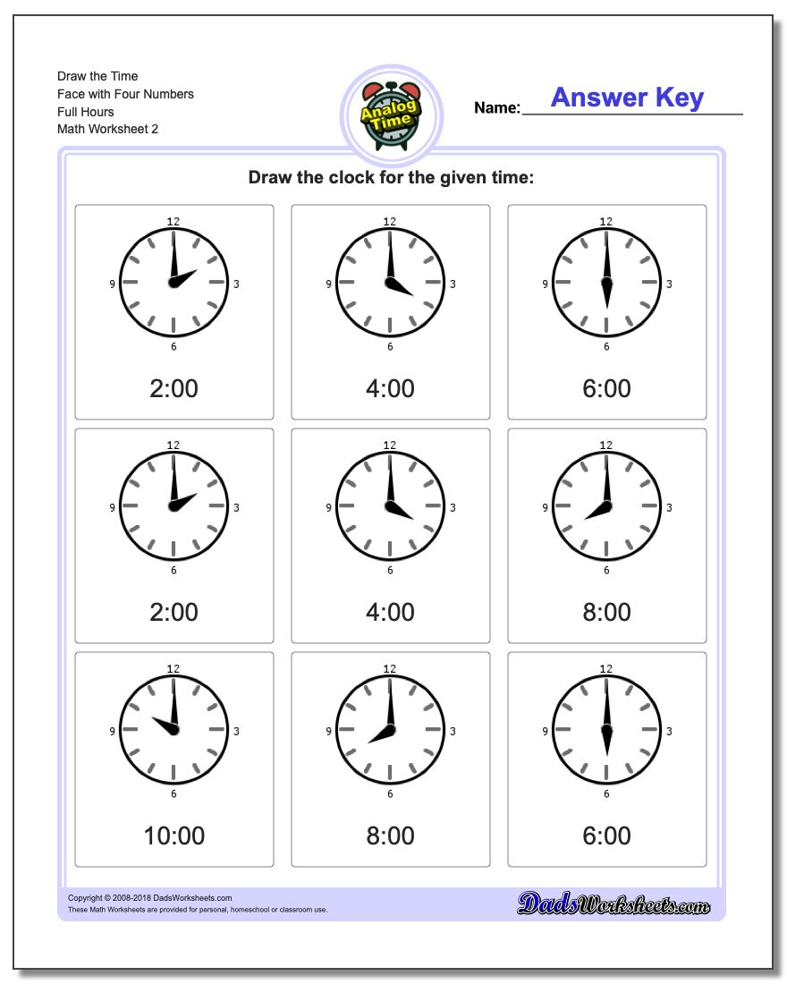 Draw the Time Face with Four Numbers Full Hours www.dadsworksheets.com/worksheets/telling-analog-time.html Worksheet