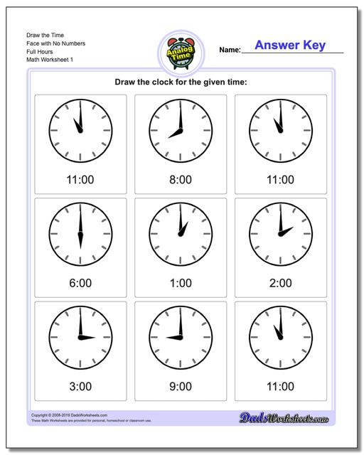 Telling Analog Time Draw the Face with No Numbers Full Hours Worksheets
