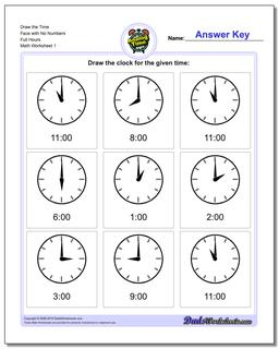 Telling Analog Time Draw the Face with No Numbers Full Hours Worksheet
