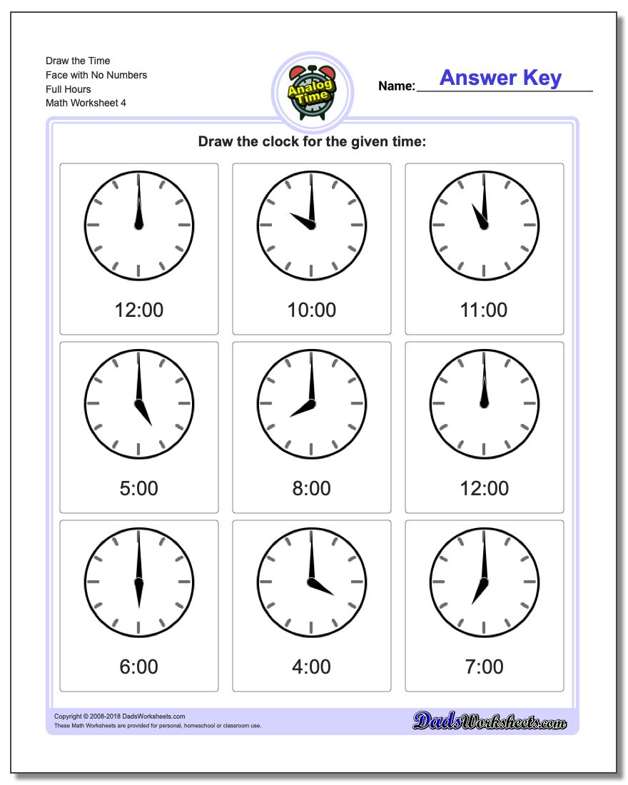 Draw the Time Face with No Numbers Full Hours Worksheet
