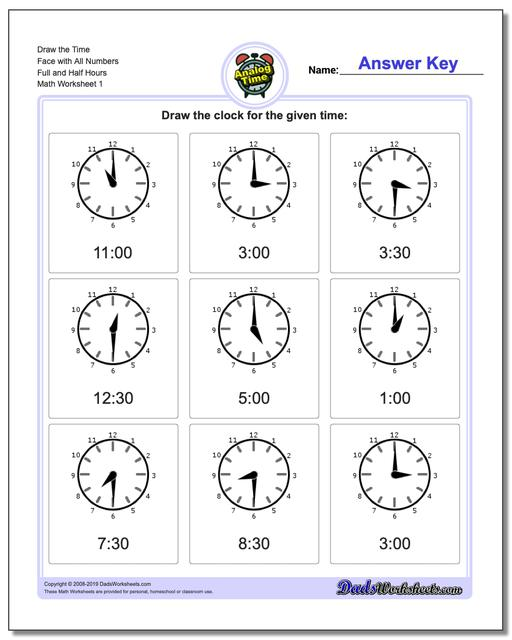 Telling Analog Time Draw the Face with All Numbers Full and Half Hours Worksheets