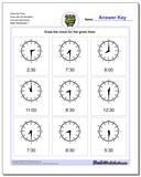 Draw the Time Face with All Numbers Full and Half Hours Worksheet