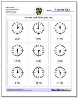 Telling Analog Time Draw the Face with Four Numbers Full and Half Hours Worksheet