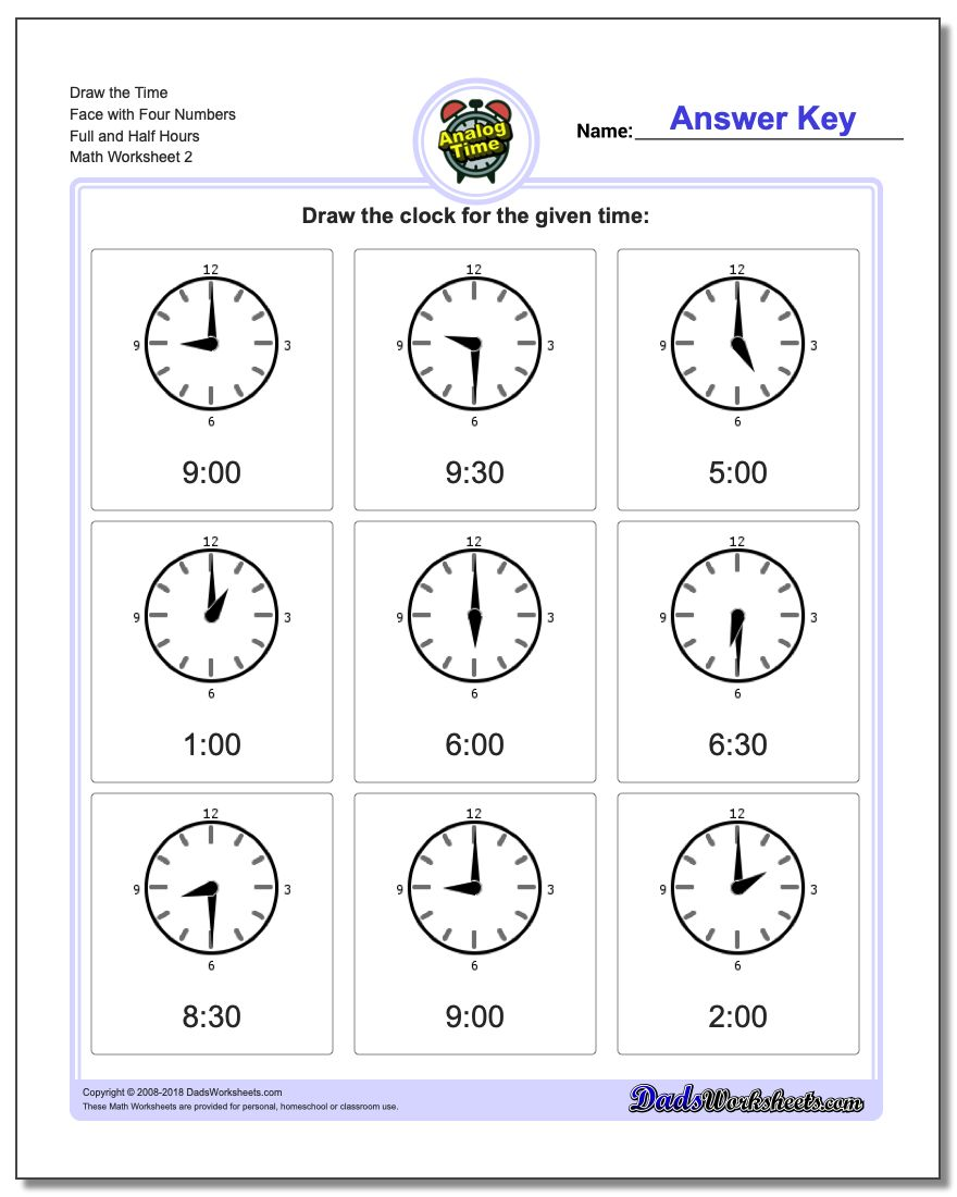 Draw the Time Face with Four Numbers Full and Half Hours www.dadsworksheets.com/worksheets/telling-analog-time.html Worksheet