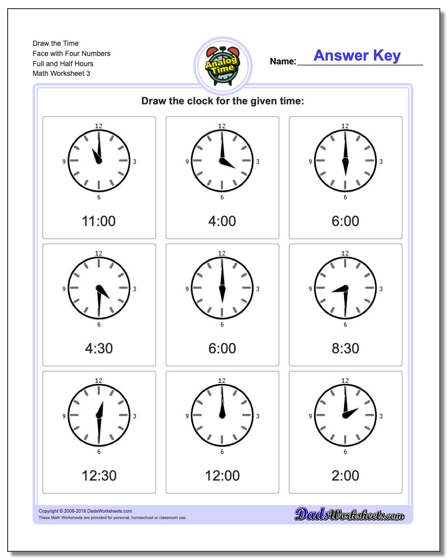 Draw the Time Face with Four Numbers Full and Half Hours Worksheet