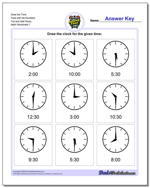 Telling Analog Time Draw the Face with No Numbers Full and Half Hours Worksheets