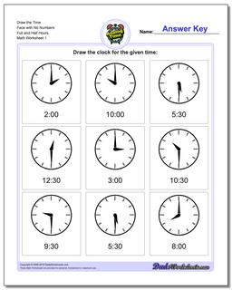 Telling Analog Time Draw the Face with No Numbers Full and Half Hours Worksheet