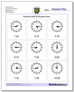 Telling Analog Time Draw the Face with All Numbers Quarter Hours Worksheet