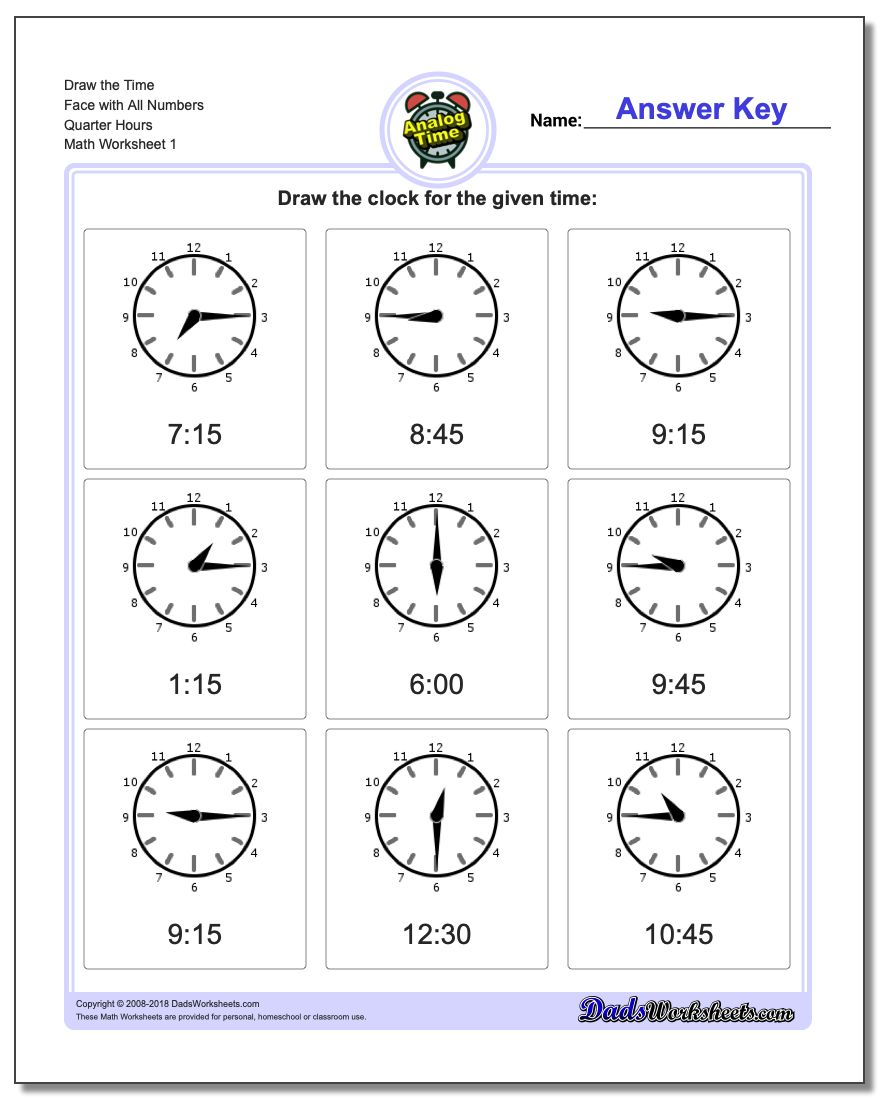 Telling Analog Time Draw the Face with All Numbers Quarter Hours Worksheets