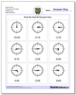 Telling Analog Time Draw the Face with Four Numbers Quarter Hours Worksheet