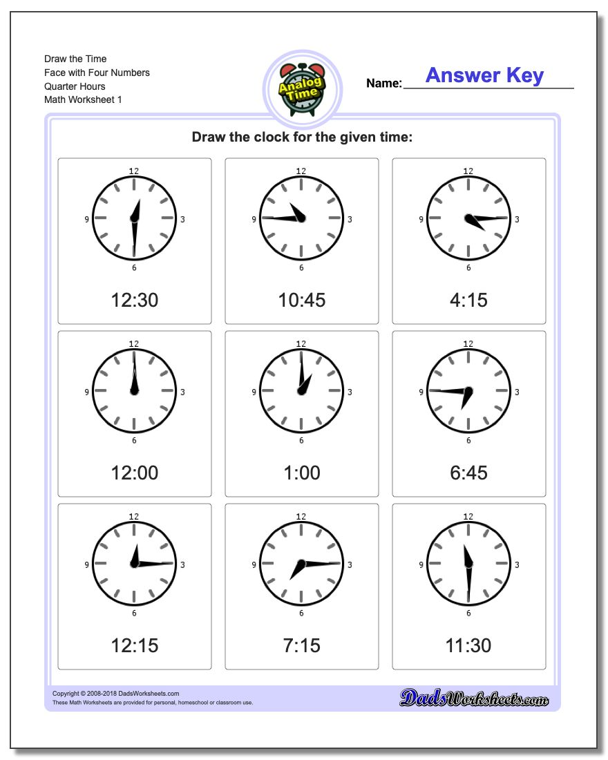 Telling Analog Time Draw the Face with Four Numbers Quarter Hours Worksheets