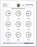 Draw the Time Face with Four Numbers Quarter Hours www.dadsworksheets.com/worksheets/telling-analog-time.html Worksheet