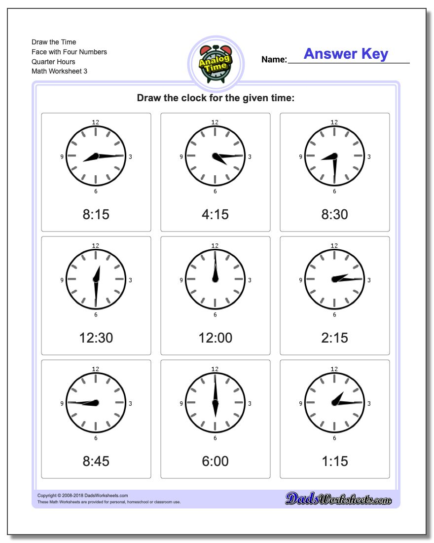 Draw the Time Face with Four Numbers Quarter Hours Worksheet