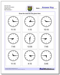 Telling Analog Time Draw the Face with No Numbers Quarter Hours Worksheet
