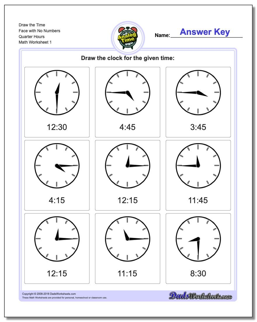 Telling Analog Time Draw the Face with No Numbers Quarter Hours Worksheets