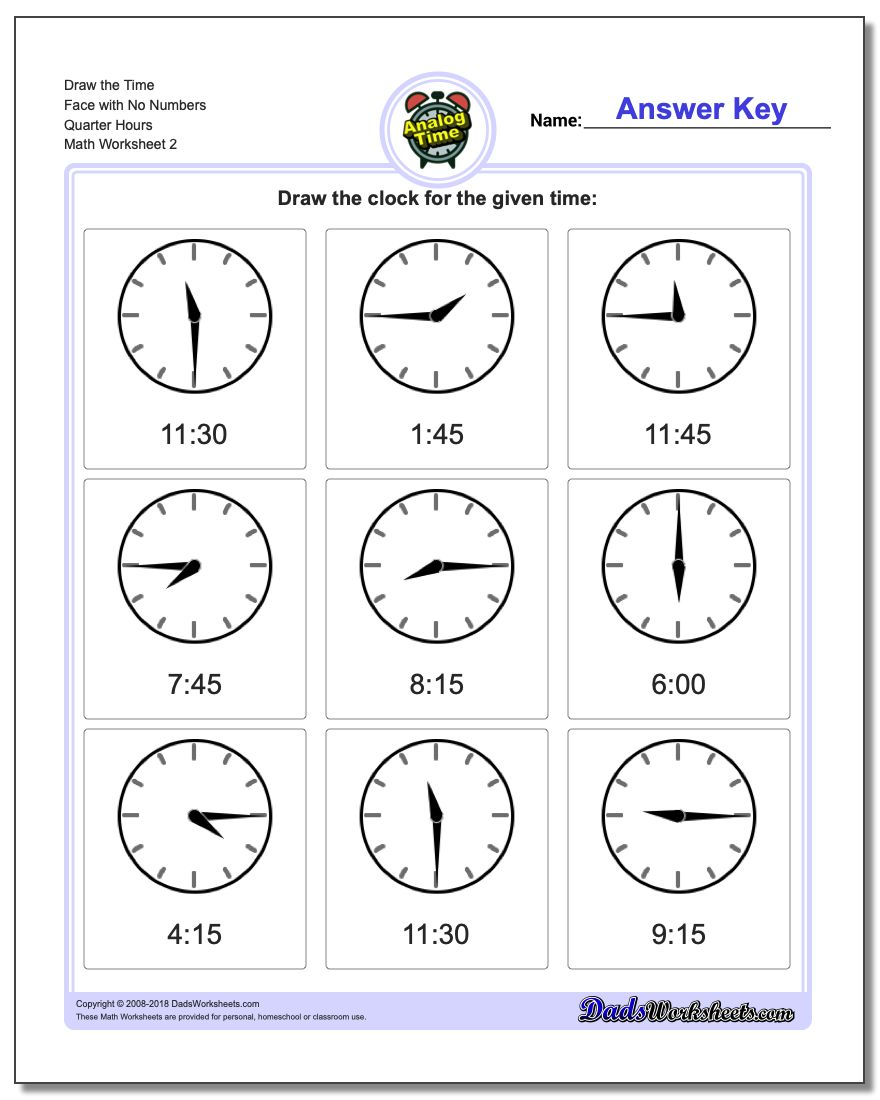 Draw the Time Face with No Numbers Quarter Hours www.dadsworksheets.com/worksheets/telling-analog-time.html Worksheet