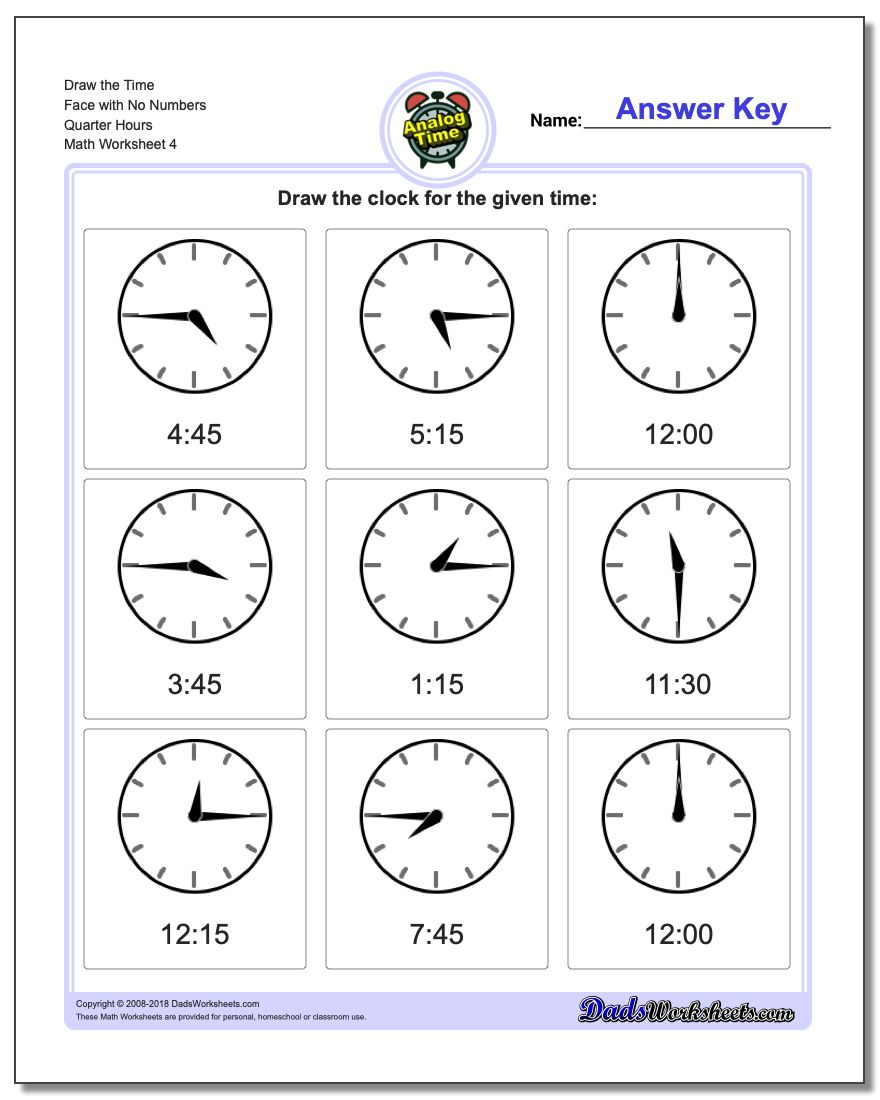 Draw the Time Face with No Numbers Quarter Hours Worksheet