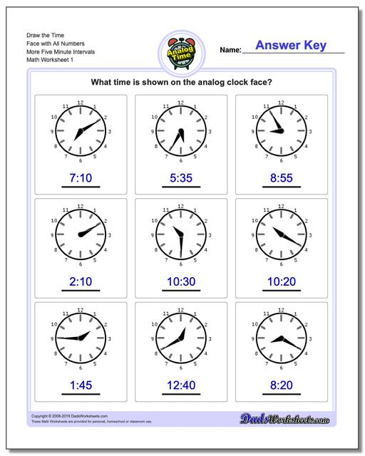 Telling Analog Time Draw the Face with All Numbers More Five Minute Intervals Worksheets