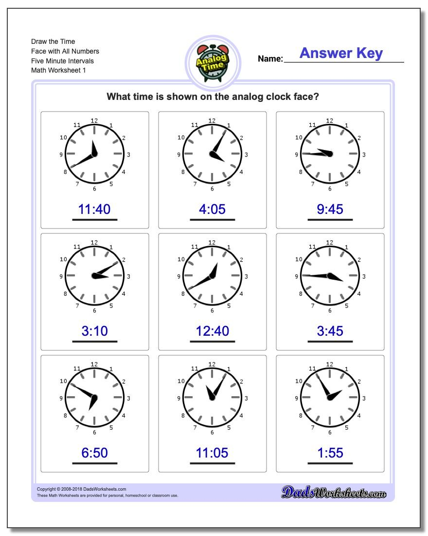Telling Analog Time – Time Worksheets