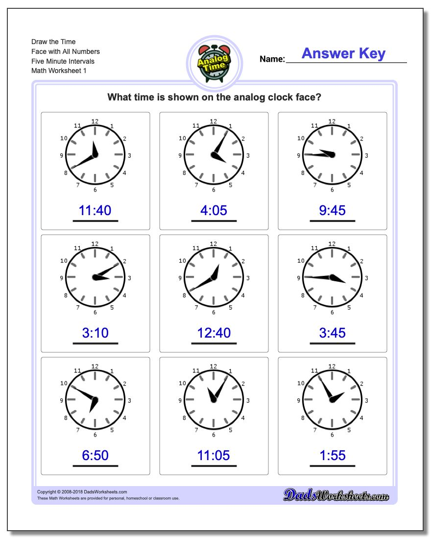 Telling Analog Time Draw the Face with All Numbers Five Minute Intervals Worksheet