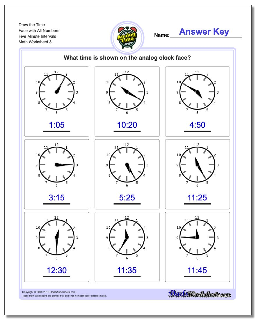 Draw the Time Face with All Numbers Five Minute Intervals Worksheet