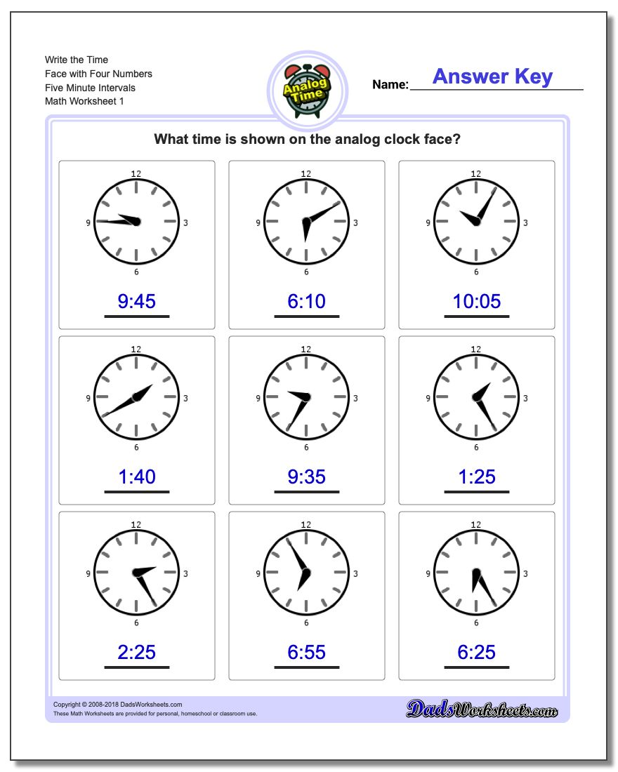 Telling Analog Time Write the Face with Four Numbers Five Minute Intervals Worksheets