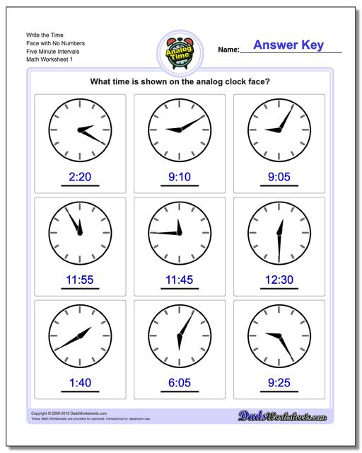 Telling Analog Time Write the Face with No Numbers Five Minute Intervals Worksheets