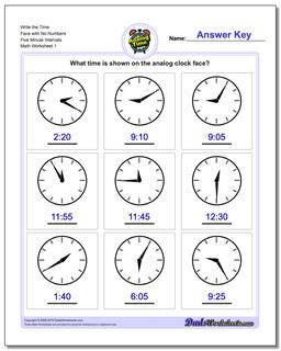 Telling Analog Time Write the Face with No Numbers Five Minute Intervals Worksheet