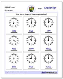 Telling Analog Time Worksheet