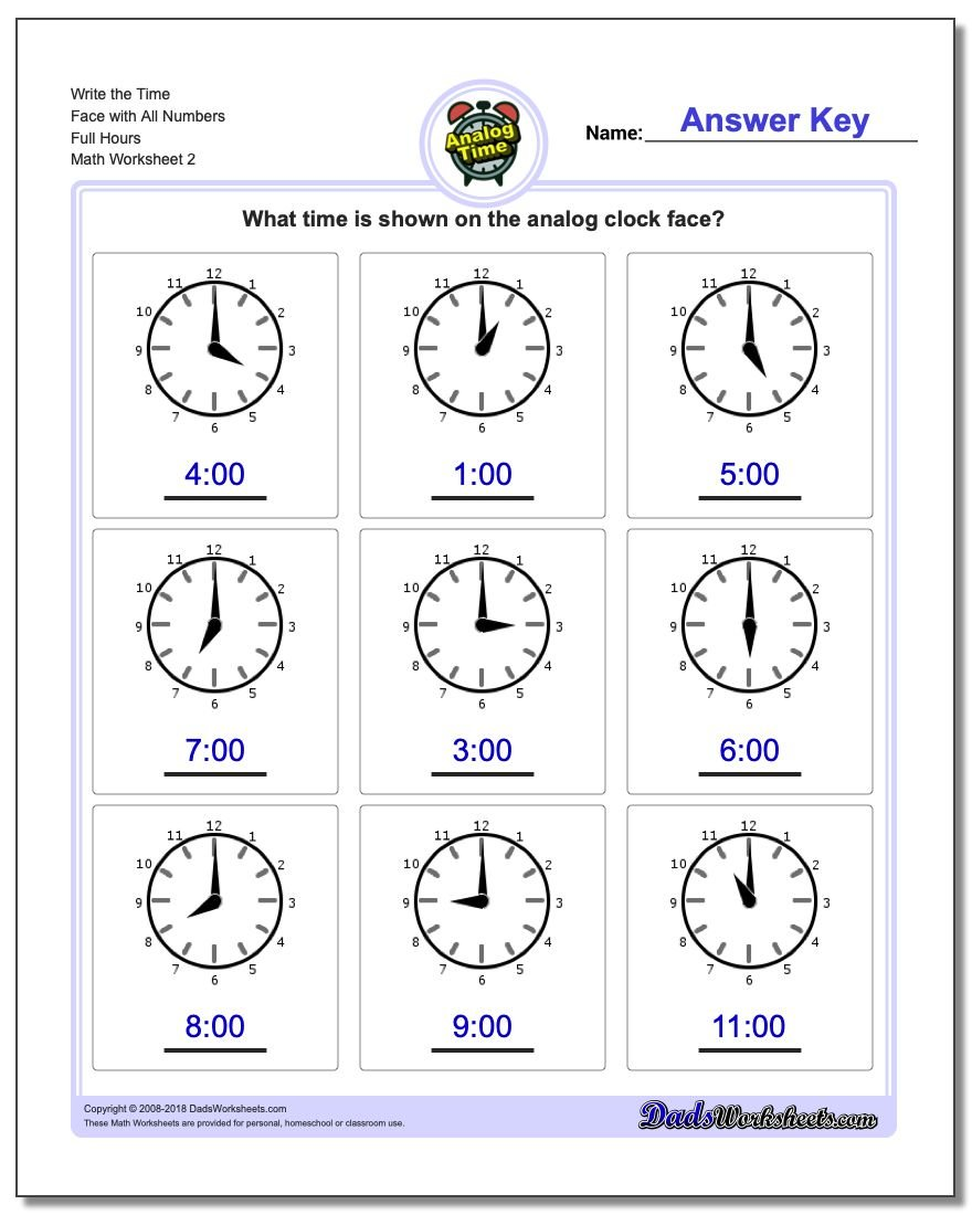 Write the Time Face with All Numbers Full Hours www.dadsworksheets.com/worksheets/telling-analog-time.html Worksheet