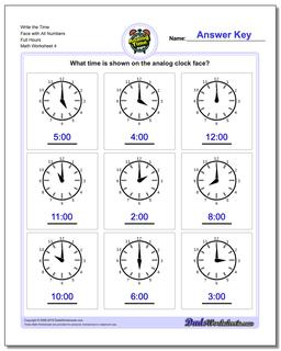 Write the Time Face with All Numbers Full Hours Worksheet