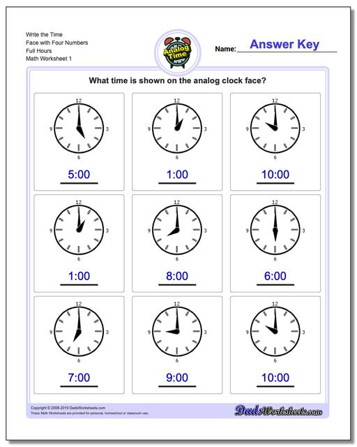 Telling Analog Time Write the Face with Four Numbers Full Hours Worksheets