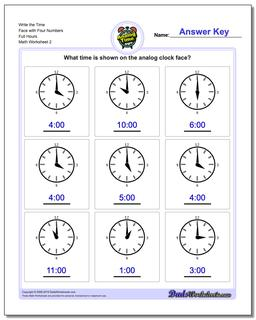 Write the Time Face with Four Numbers Full Hours www.dadsworksheets.com/worksheets/telling-analog-time.html Worksheet