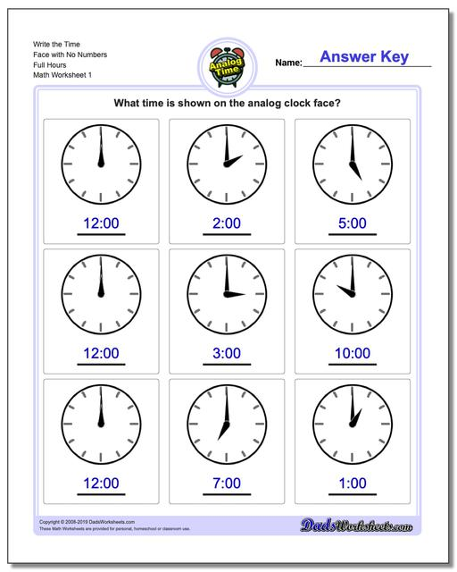 Telling Analog Time Write the Face with No Numbers Full Hours Worksheets