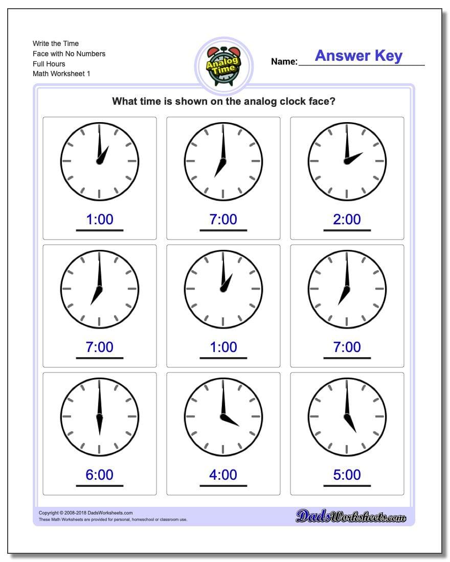 worksheet Face Math Worksheets full hours worksheet 4