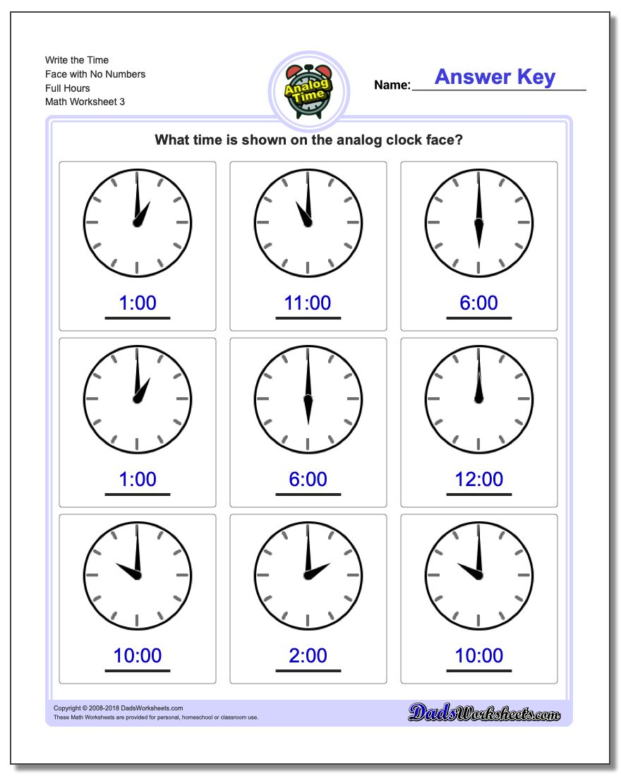 Write the Time Face with No Numbers Full Hours Worksheet