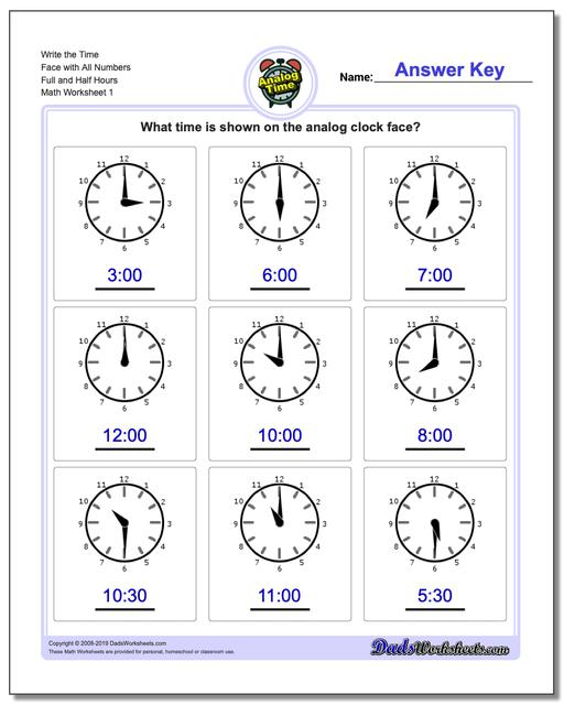 Telling Analog Time Write the Face with All Numbers Full and Half Hours Worksheets