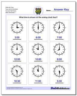 Telling Analog Time Write the Face with All Numbers Full and Half Hours Worksheet