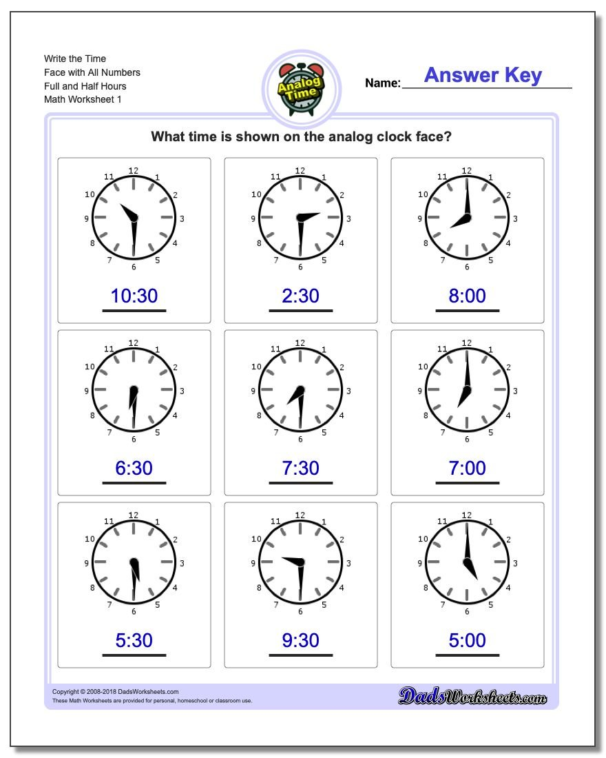 Telling Analog Time on Fact Family Worksheets