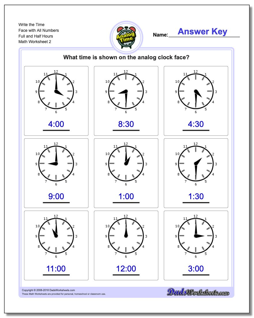 Write the Time Face with All Numbers Full and Half Hours www.dadsworksheets.com/worksheets/telling-analog-time.html Worksheet