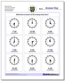 Write the Time Face with All Numbers Full and Half Hours Worksheet